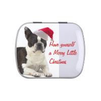 Santa Boston Terrier Candy Tin
