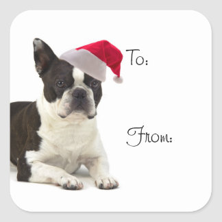 Santa Boston Terrier Gift Stickers