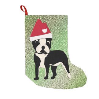 Santa Boston Terrier Small Christmas Stocking