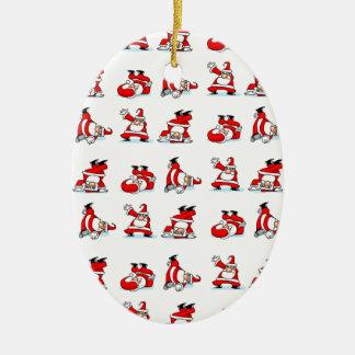 Santa Breakdance Wallpaper Ceramic Ornament