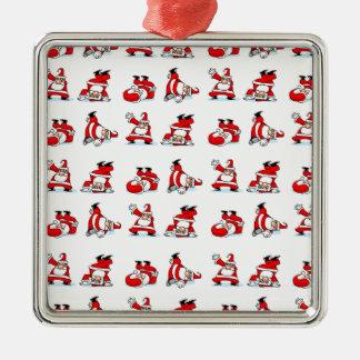 Santa Breakdance Wallpaper Metal Ornament