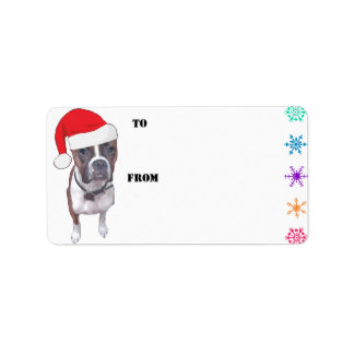 Santa Brindle Boxer Gift Tags Custom Address Label