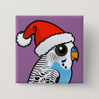 Santa Budgie Blue Pinback Button