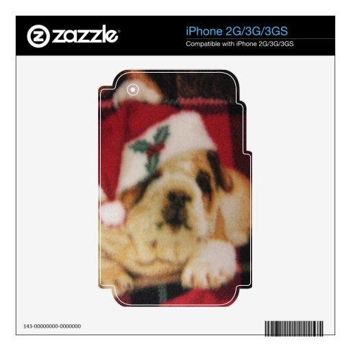 Santa Bulldog Decal For iPhone 3GS