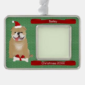 Santa Bulldog Personalized Keepsake Ornament
