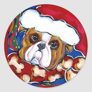 Santa Bulldog Sticker