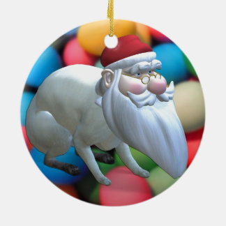 Santa Bunny Ceramic Ornament