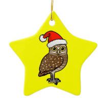 Santa Burrowing Owl Ceramic Ornament