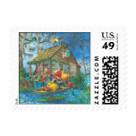 Santa Cabin Postage Stamp