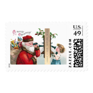 Santa Calls on Antique Telephone Postage Stamp