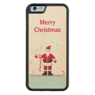 Santa, Candy Cane and Stars Christmas Carved Maple iPhone 6 Bumper Case