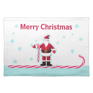 Santa, Candy Cane and Stars Christmas Cloth Placemat