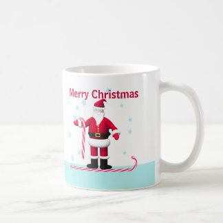 Santa Candy Cane and Stars Christmas Coffee Mug