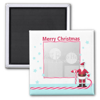 Santa, Candy Cane and Stars Christmas 2 Inch Square Magnet