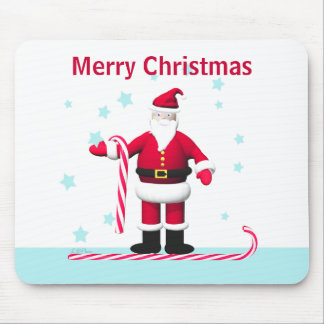 Santa Candy Cane and Stars Christmas Mouse Pad