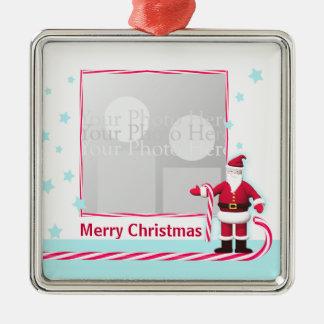 Santa, Candy Cane and Stars Christmas Square Metal Christmas Ornament