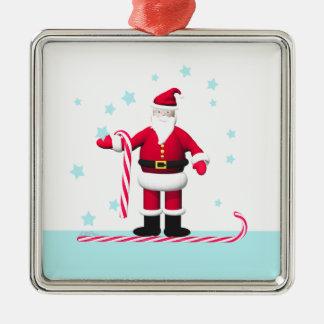 Santa Candy Cane and Stars Christmas Square Metal Christmas Ornament