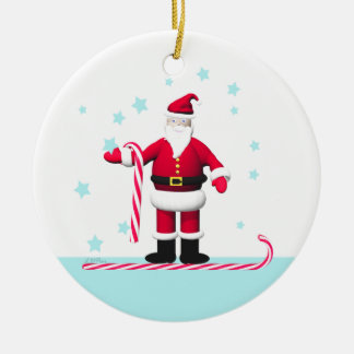 Santa Candy Cane and Stars Christmas Double-Sided Ceramic Round Christmas Ornament