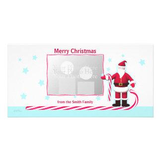 Santa, Candy Cane and Stars Christmas Photo Card