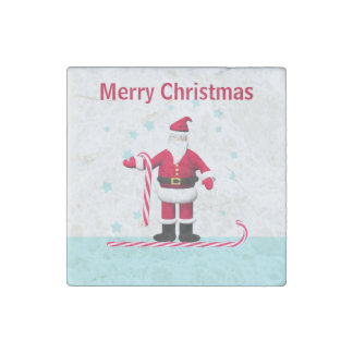 Santa Candy Cane and Stars Christmas Stone Magnet