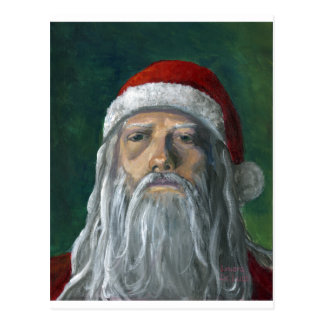 Santa cara pintada a mano severa tarjeta postal