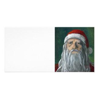 Santa, cara pintada a mano, severa tarjetas con fotos personalizadas