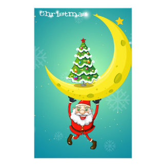Santa carrying a moon with a christmas tree stationery