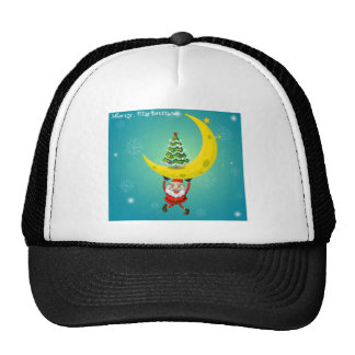 Santa carrying a moon with a christmas tree trucker hat