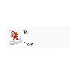 Santa carrying bag return address label