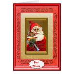 Santa carrying gifts greeting card