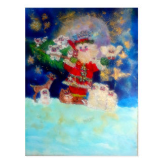 Santa Carrying Gifts to Animals Postcards