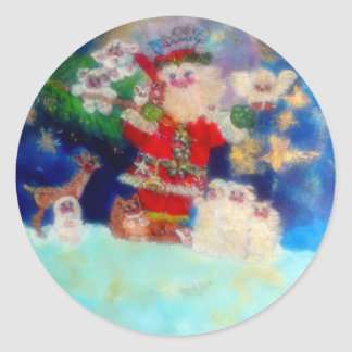 Santa Carrying Gifts to Animals Classic Round Sticker