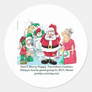 Santa cartoon after delivering gifts sticker