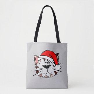 Santa Cat All-Over-Print Tote Bag
