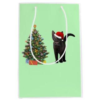 Santa Cat And Christmas Tree Medium Gift Bag