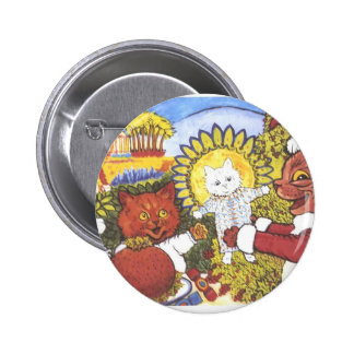 Santa Cat and Friends Artwork by Louis Wain Buttons