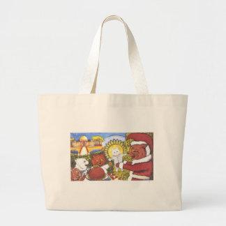 Santa Cat and Friends Artwork by Louis Wain Jumbo Tote Bag