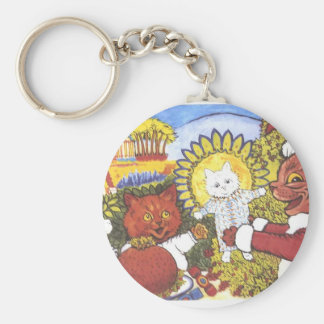 Santa Cat and Friends Artwork by Louis Wain Basic Round Button Keychain