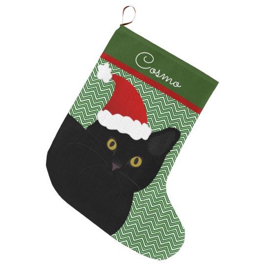 Cat Christmas Stockings.Santa Cat Black With Yellow Eyes Personalized Large Christmas Stocking