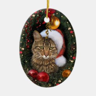 Santa Cat Ceramic Ornament