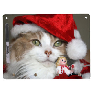 Santa cat - christmas cat - cute kittens dry erase board with keychain holder
