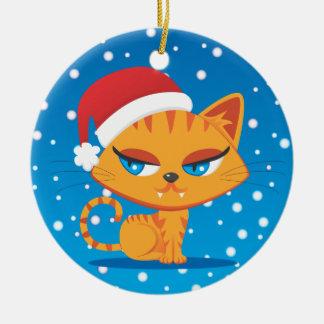 Santa Cat Christmas Ornament