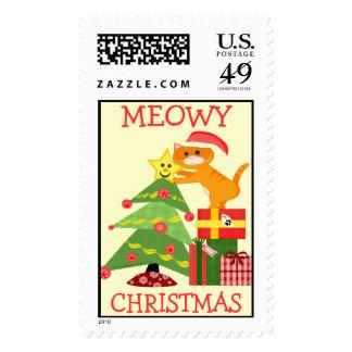 Santa Cat Christmas Postage Stamp