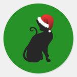 Santa Cat Classic Round Sticker