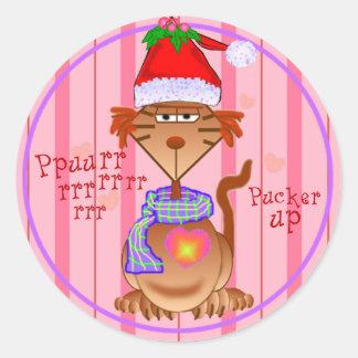 Santa Cat Gifts Round Stickers