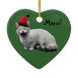 Santa Cat Green Ornament