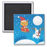 Santa Cat Sleigh 2 Inch Square Magnet