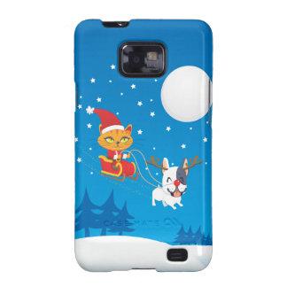 Santa Cat Sleigh Galaxy S2 Covers