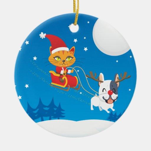 Santa Cat Sleigh Double-Sided Ceramic Round Christmas Ornament