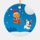 Santa Cat Sleigh Ornaments